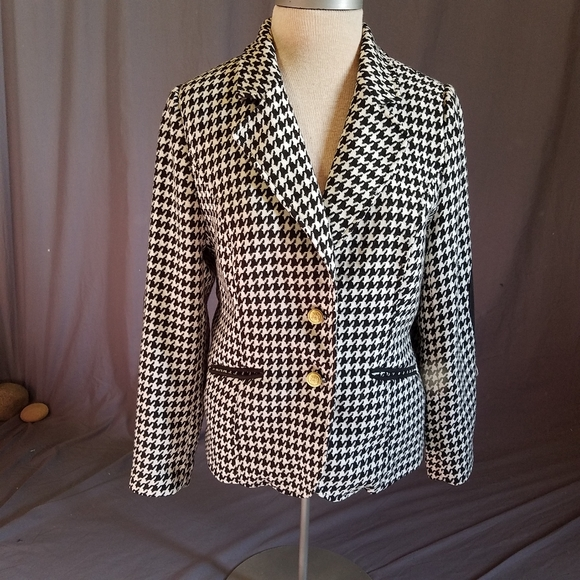 Joan Rivers houndstooth jacket sz 12 elbow pads